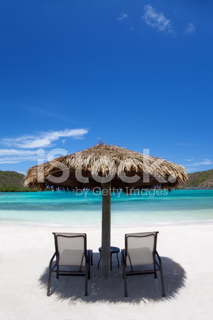 Chairs And Cabana Hut At A Tropical Caribbean Beach
