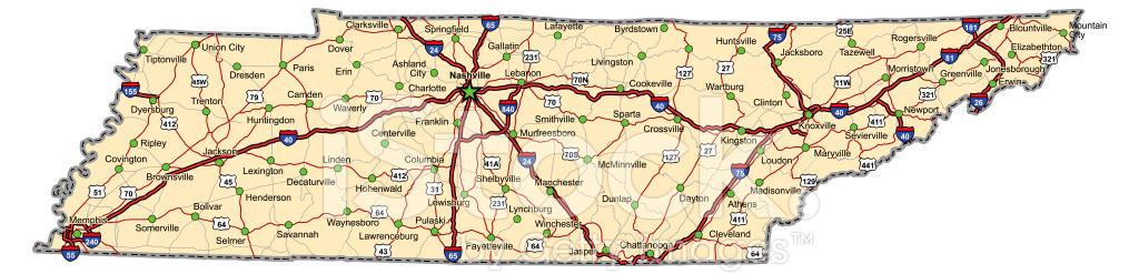 Mapa DE Carretera DE Tennessee (vector) Stock Vector ...