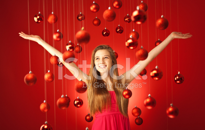 Premium Stock Photo Of Young Teem Model In Red Dress With Christmas Theme