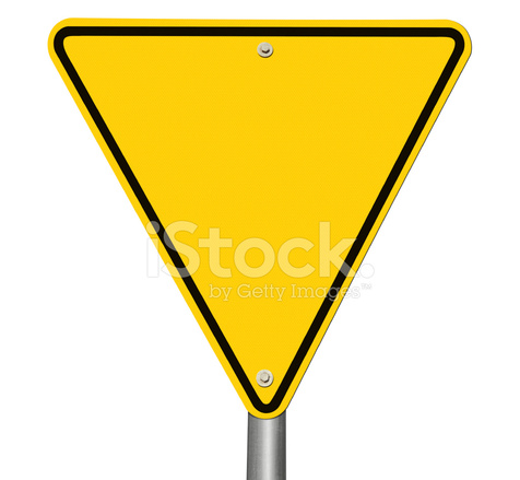 Yield sign black and white