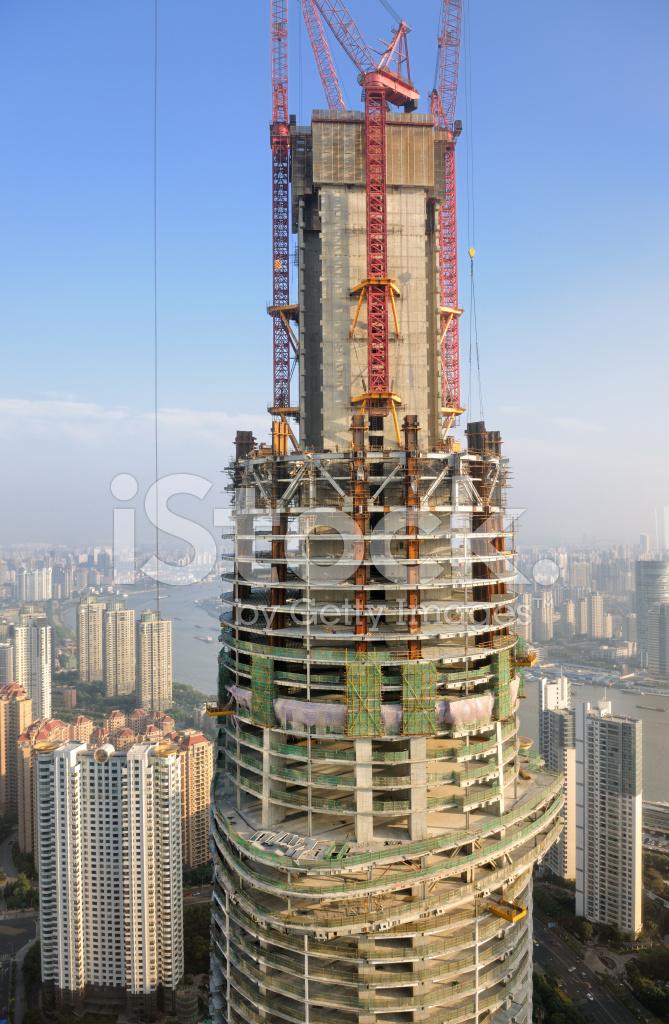 Shanghai Tower Konstruktion Kina Xxxl Stockfoton