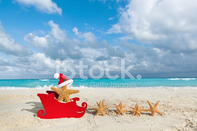 tropical christmas beach vacation santa claus with starfish and