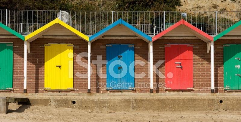 Locked beach huts stock photos for Model beach huts