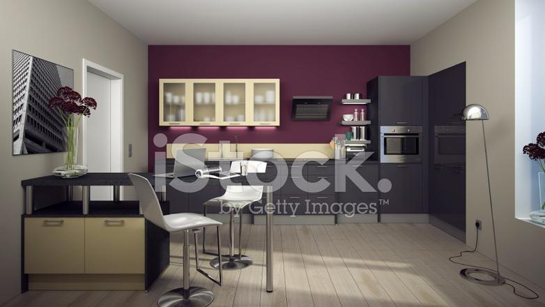 Moderne gekleurde keuken met transamerica pyramid stockfoto s