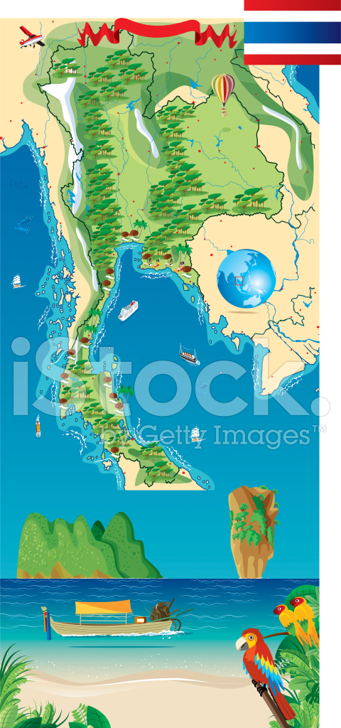 Cartoon Map of Thailand Stock Vector - FreeImages.com
