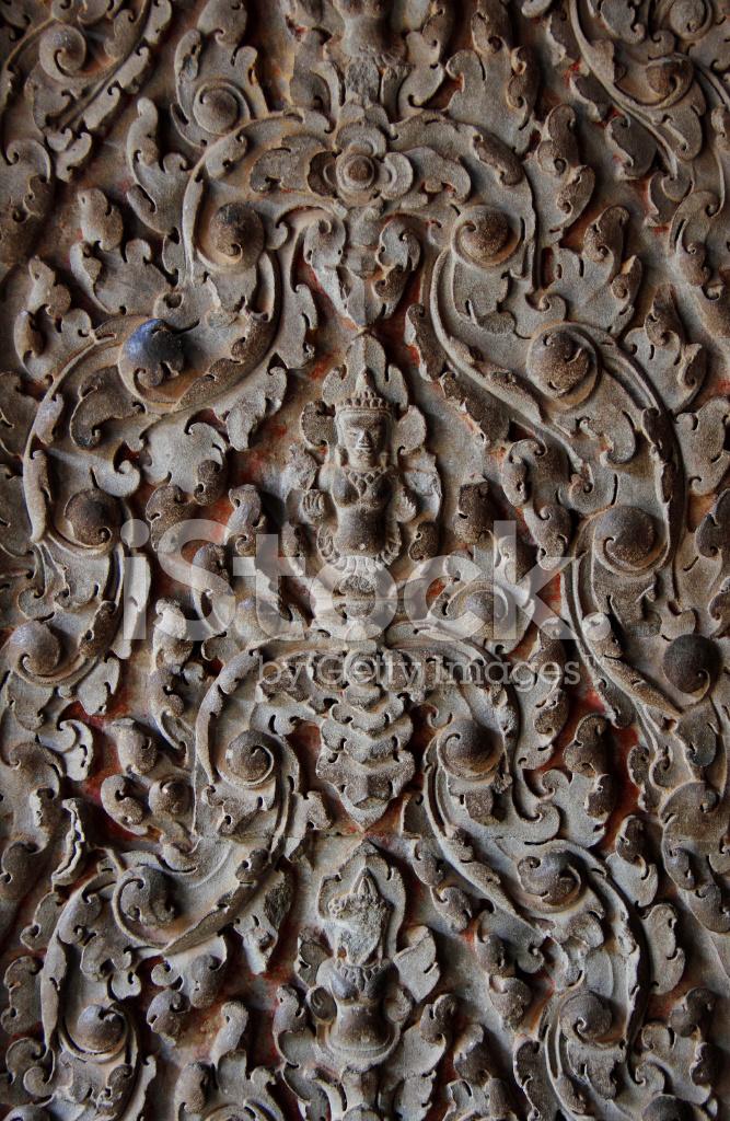 Khmer stone carving in angkor wat cambodia stock photos