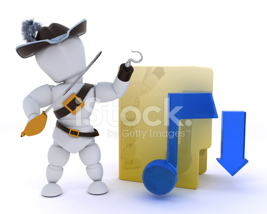 Pirate Depicting Illegal Music Download Stock Photos