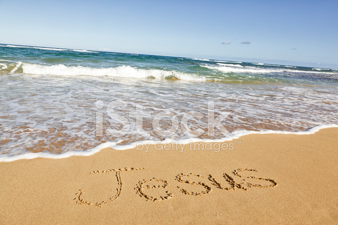 Fotografía De I Love You Escrito En La Arena De La Playa: Jesus Written IN Sand AT The Beach Stock Photos