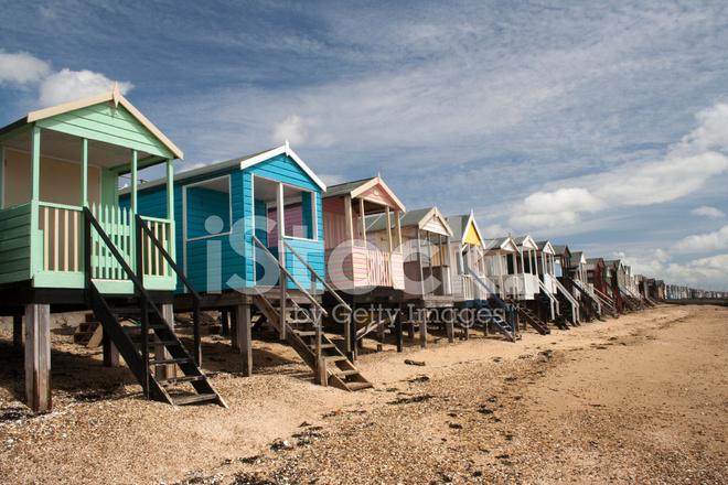 Beach Huts Thorpe Bay Essex England Stock Photos