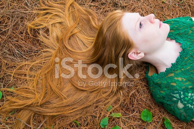 Natürliche Reich Lange Rote Haare Auf Tannennadeln Zu