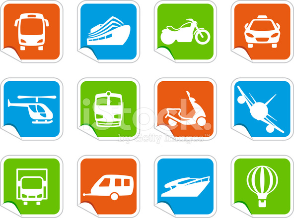 various means of travel on colorful stickers stock vector