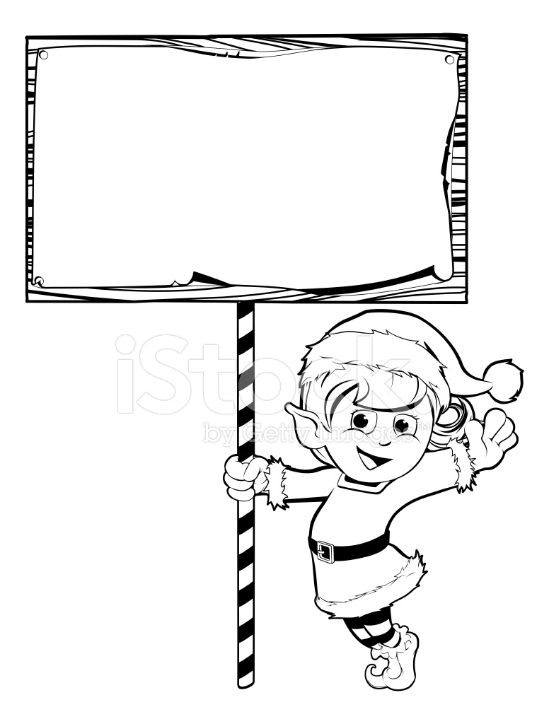Christmas Elf Holding A Sign Stock Vector - FreeImages.com