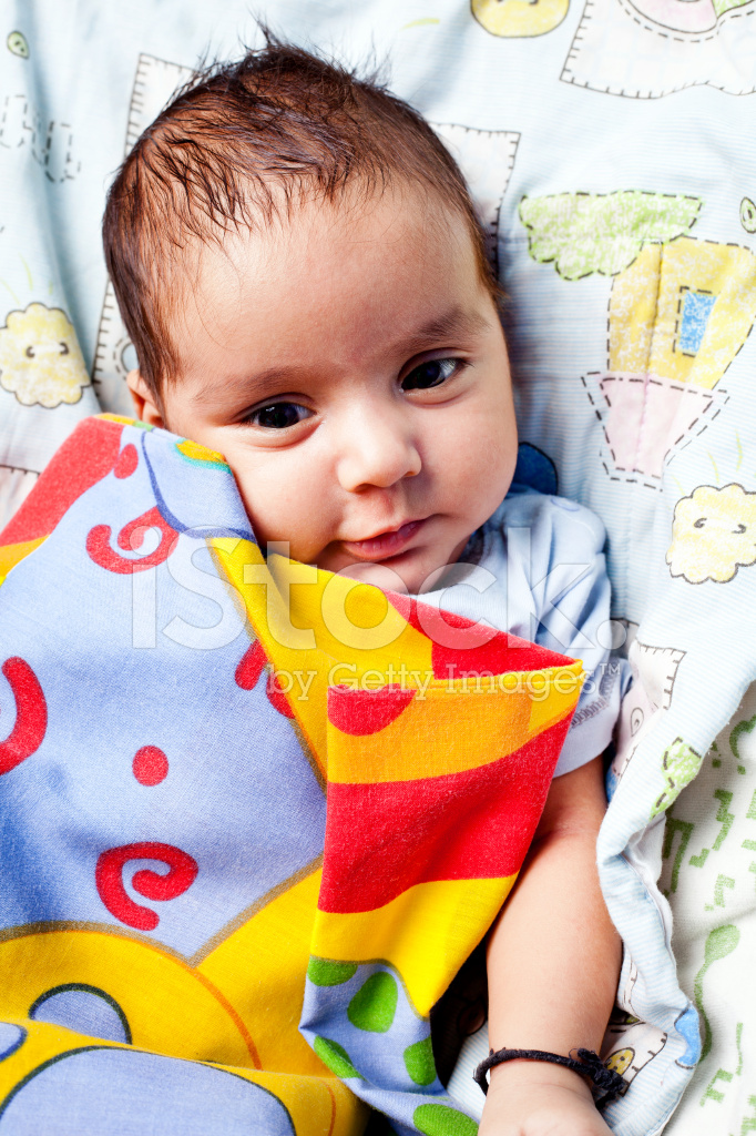 Cute Cheerful Indian Baby Boy Infant In Blanket Stock Photos Freeimages Com