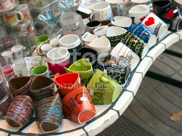 Souvenir Cups In Barcelona Stock Photos Freeimages Com