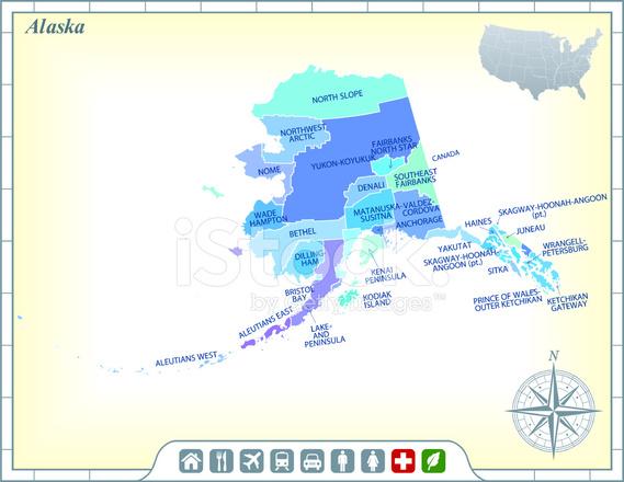 Alaska I Karte MIT Grafschaften UND Aktivitäten ...