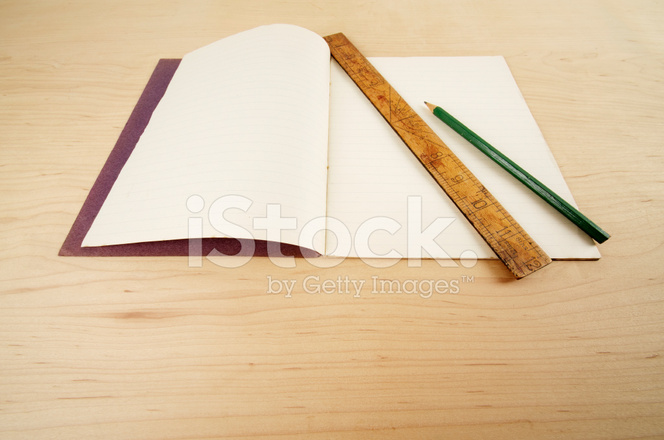 Old Exercise Book Pencil And Ruler On Table Stock Photos
