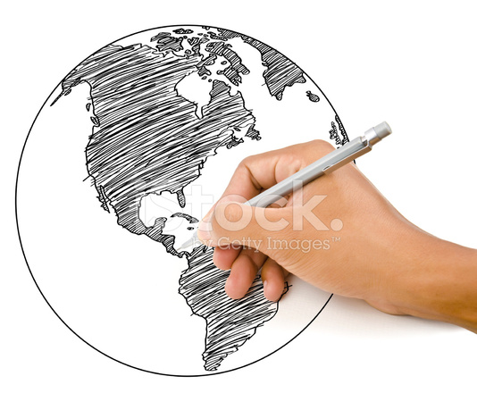 Hand drawing world map globe line on the stock photos freeimages hand drawing world map globe line on the whiteboard gumiabroncs Images