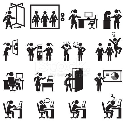 Businesswoman Daily Office Job Black And White Vector Icon