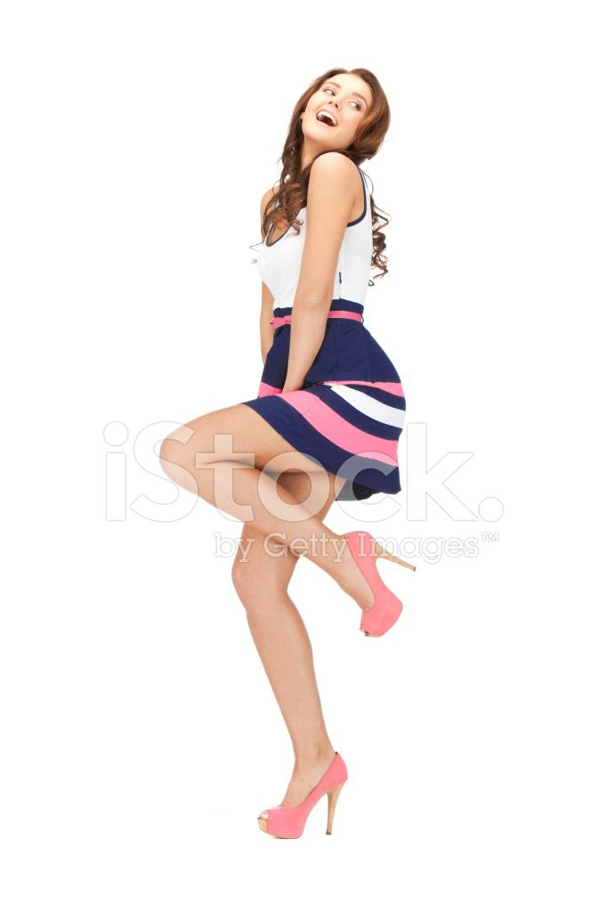 e043ec77808a Happy Woman IN Elegant Dress and High Heels Stock Photos ...