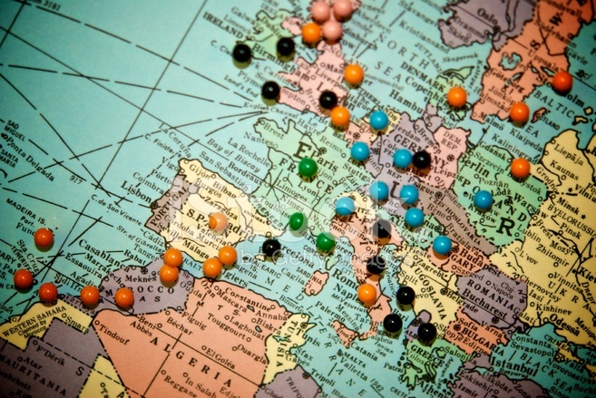 Travel map with push pins europe stock photos freeimages premium stock photo of travel map with push pins europe gumiabroncs Choice Image
