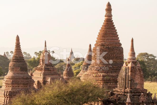 Myanmar: Closeup View of Smaller Bagan Temples Stock Photos