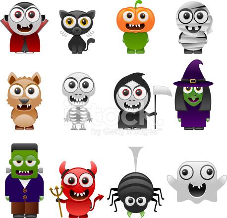 Cartoon Halloween Characters Set 790353 on Color Yellow Activities