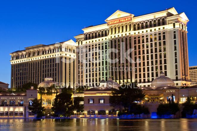 Caesars Palace Bellagio Hotel Lake Shops Restaurants Night Las V