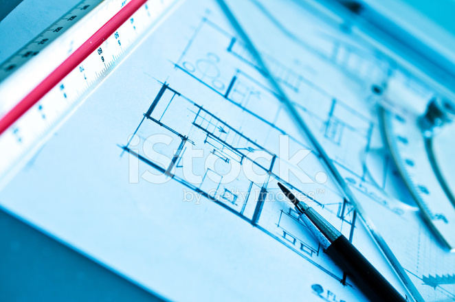 Work Of Interior Design Concept And Drawing Tools Stock