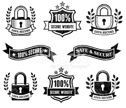 Secure Website Black & White Royalty Free Vector Icon Set