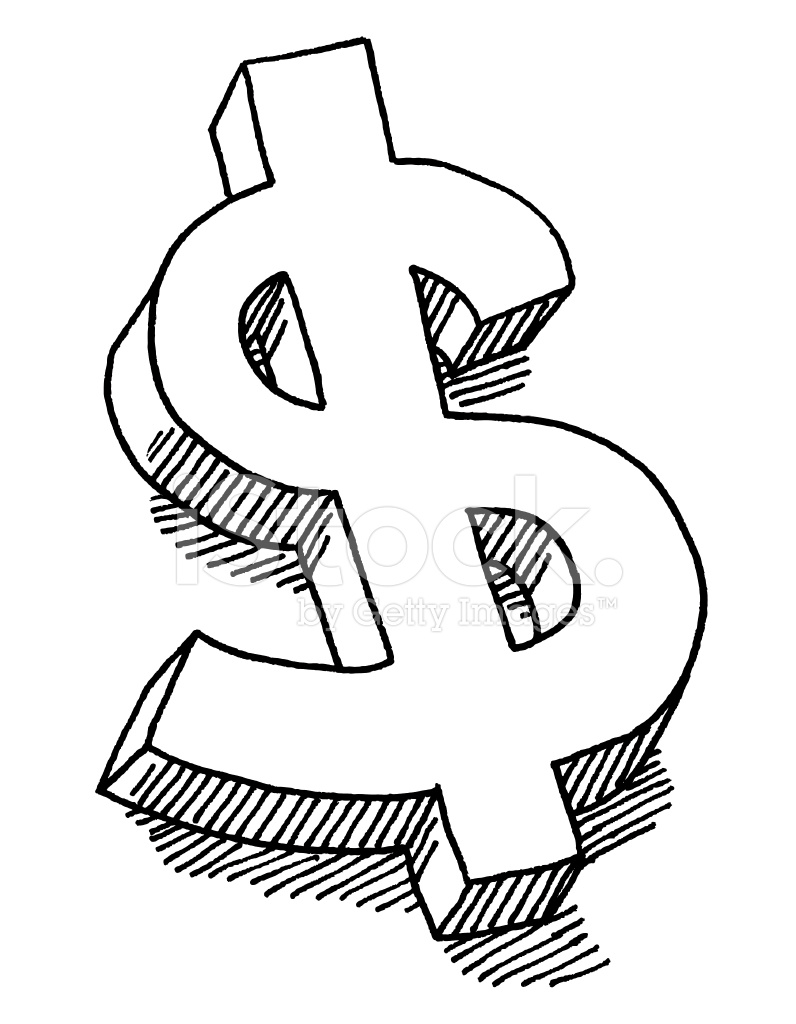 Dollar Currency Sign Drawing Stock Vector Freeimages