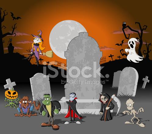 Cimetière D Halloween Et De Personnages De Dessin Animé