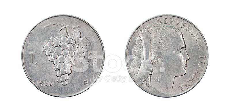 Lire Münzen Italien 1950 Stockfotos Freeimagescom