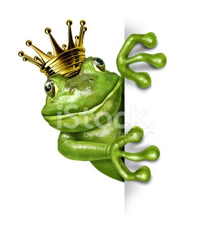 Principe ranocchio con corona in oro con un cartello bianco