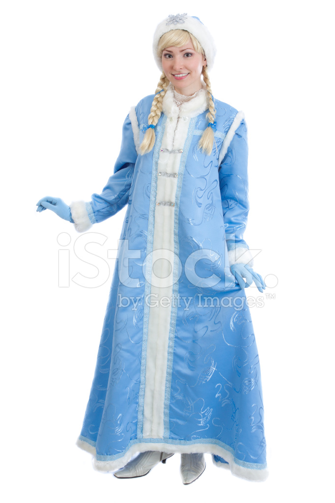 Girl In Traditional Russian Christmas Costume Of Snegurochka Sn
