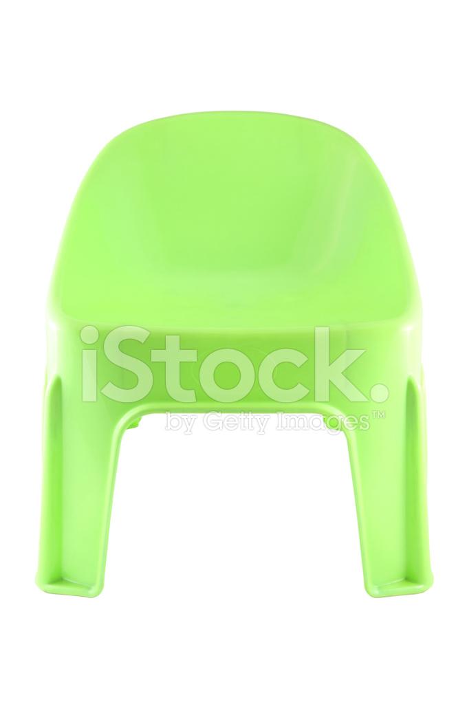 Plastikowe Krótkie Zielone Krzesło Na Białym Zdjęcia Ze