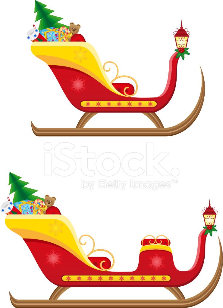 クリスマスそりサンタ クロースのプレゼントのベクトル イラスト Stock