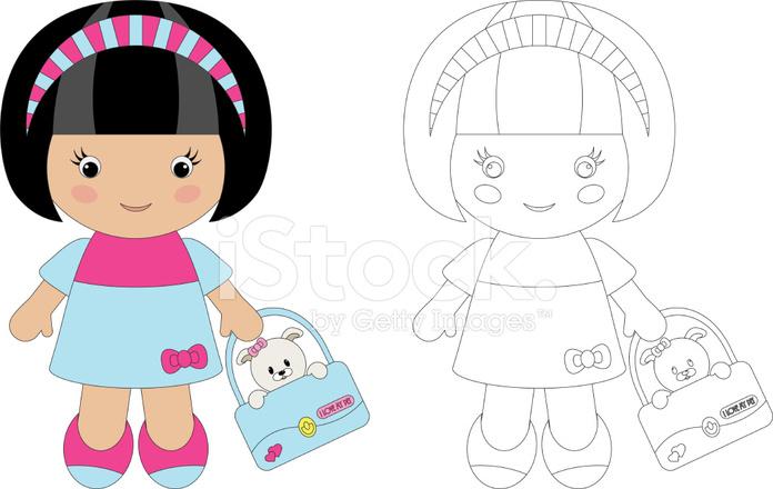 Para Colorear Para Linda Chica Con Su Mascota Stock Vector
