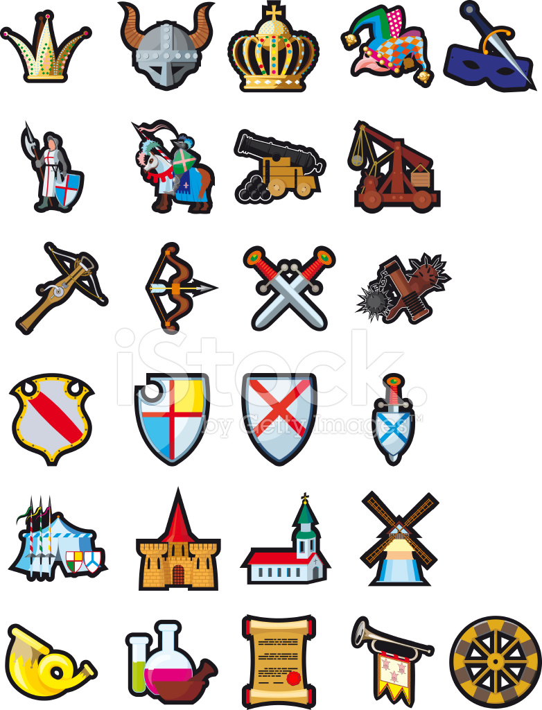 Set Of Medieval Icons Stock Vector FreeImagescom