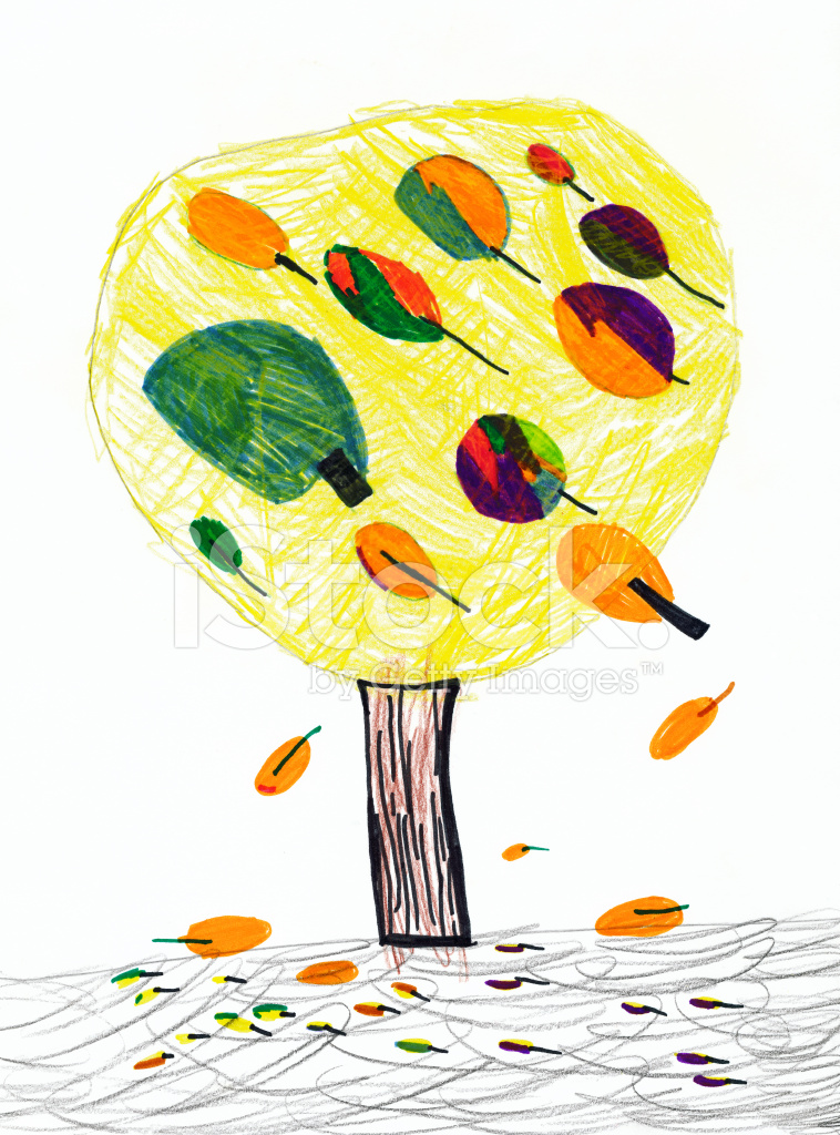 Sonbahar çocuğun çizim Kağıt üzerinde Stock Vector Freeimagescom
