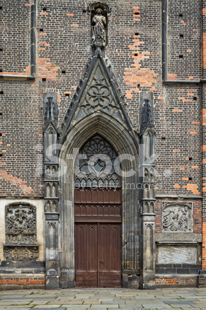 Entrance Door To The Gothic Church