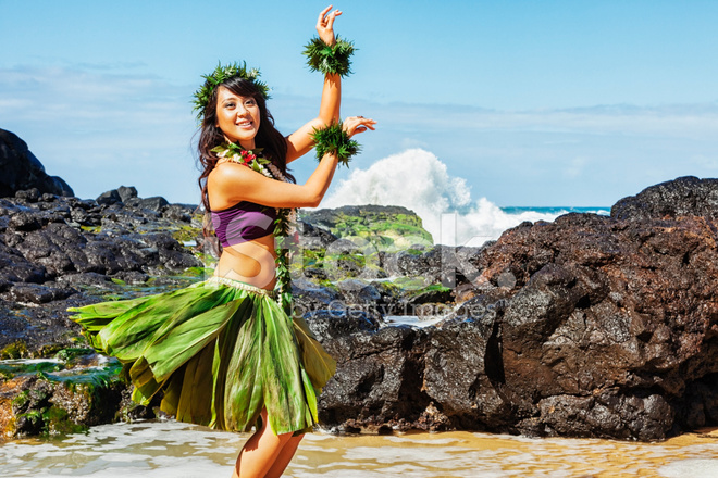 Hawaiian Hula Dancer On Beach Stock Photos FreeImagescom