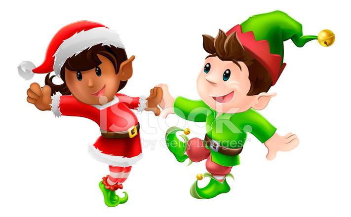 Elfos De Natal Dançando Imagem Vetorial Freeimages Com
