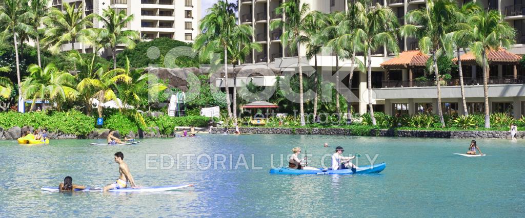 Hilton Hawaiian Village Waikiki Beach Photo Gallery: People Kayak Relax Hilton Hawaiian Village Lagoon Waikiki