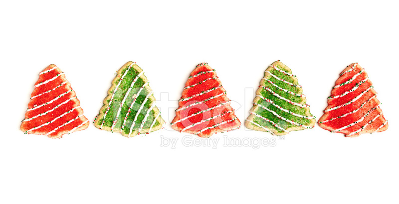 Red And Green Christmas Tree Cookies On White Background Stock