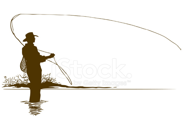 Silhouette Del Pescatore A Mosca Stock Vector Freeimages Com