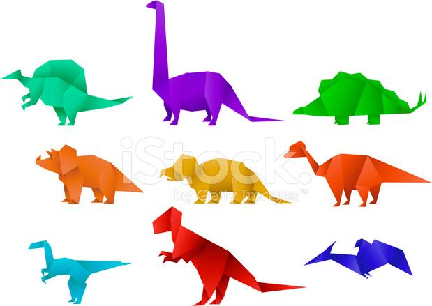 Conjunto DE Nueve Color Papel Origami Dinosaurio Coleccin Vector