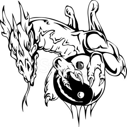 Smok Tatuaż Znak Yin Yang Stock Vector Freeimagescom