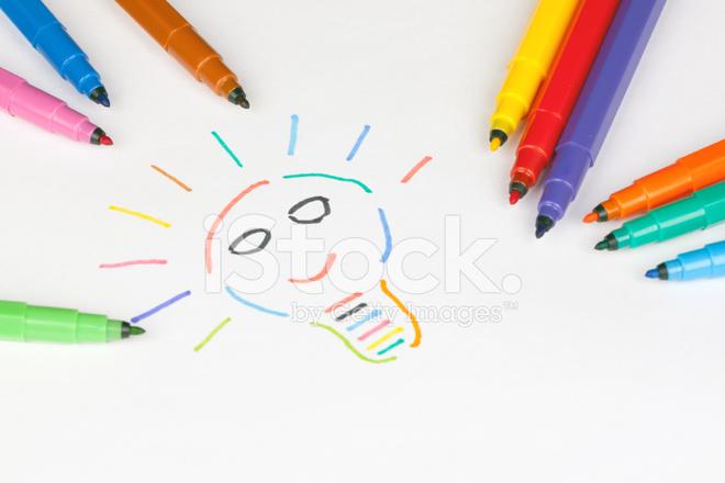 Glühbirne Mit Farbigen Markierungen Gezeichnet Stockfotos