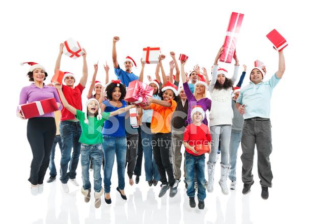 Gente Feliz En Navidad.Grupo Grande De Gente Feliz Celebracion Jumpi Y Regalos De