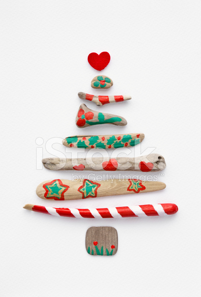 Painted Driftwood Christmas Tree On Stock Photos